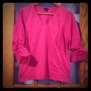 Ann Taylor Pink V neck blouse size XS